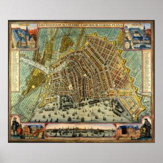 Carte antique d'Amsterdam, Hollande aka Pays-Bas Poster
