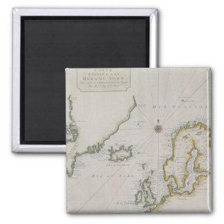 Carte antique de la Scandinavie 2 Magnet Carré