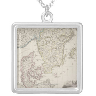 Carte antique de la Scandinavie Pendentif Carré