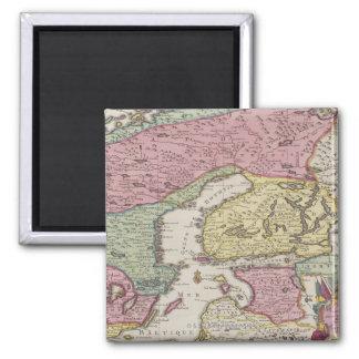 Carte antique de la Suède 2 Magnet Carré