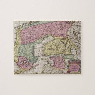 Carte antique de la Suède 2 Puzzle