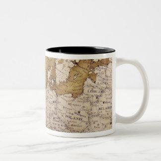 Carte antique de l'Europe. Vieux monde Mug Bicolore
