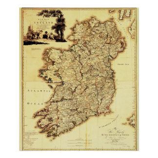 Carte antique de l'Irlande Poster