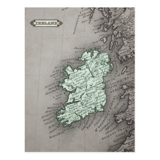 Carte antique de l'Irlande, verte Cartes Postales