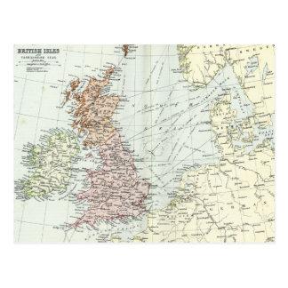 Carte antique des îles britanniques et des mers en cartes postales