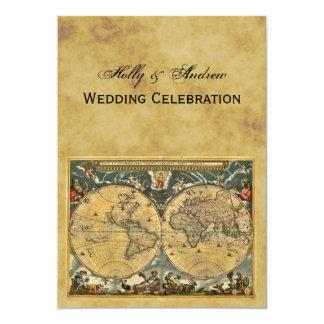 Carte antique du monde, BG affligée V épousant Carton D'invitation 12,7 Cm X 17,78 Cm