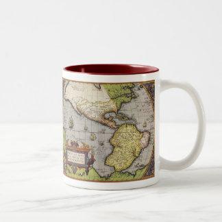 Carte antique du monde des Amériques, 1570 Mug Bicolore