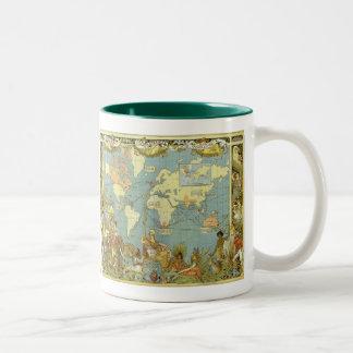 Carte antique du monde, Empire Britannique, 1886 Mug Bicolore