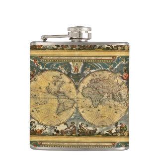 Carte antique du monde - Joan Blaeu - 1664 Flasques