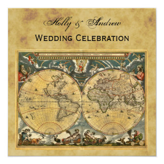 Carte antique du monde, mariage CARRÉ affligé de Carton D'invitation 13,33 Cm