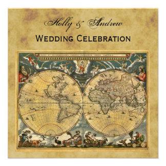 Carte antique du monde, mariage CARRÉ affligé de l Cartons D'invitation Personnalisés