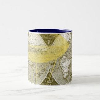 Carte antique du monde mug bicolore