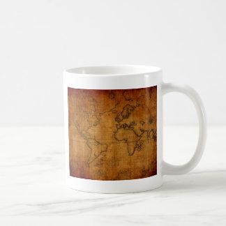 Carte antique du monde mug blanc