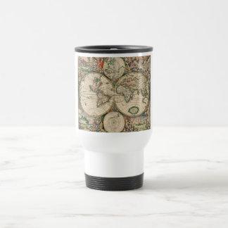 Carte antique du monde mug de voyage en acier inoxydable