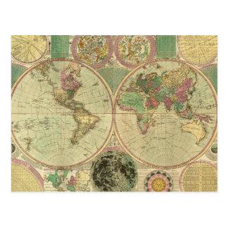 Carte antique du monde par Carington Bowles, circa Carte Postale