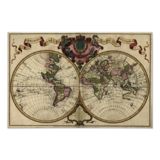Carte antique du monde par Guillaume de L Isle 17 Affiche