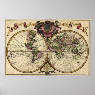Carte antique du monde par Guillaume de L'Isle, 17 Affiche