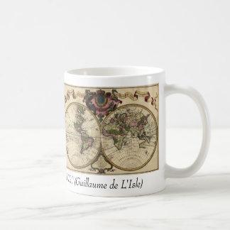 Carte antique du monde par Guillaume de L'Isle, Mug Blanc