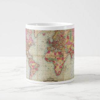 Carte antique du monde par John Colton, circa 1854 Mug Jumbo