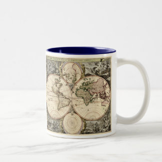 Carte antique du monde par Nicolao Visscher, circa Mug À Café
