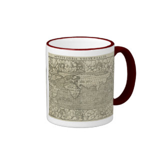 Carte antique du monde par SebastiAn Münster circa Mug Ringer