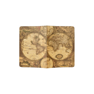 Carte antique du monde protège-passeport