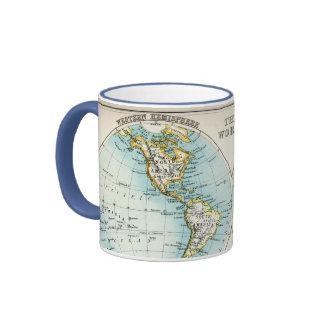 Carte antique du monde mug à café