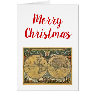 Carte antique J. Blaeu 1664 du monde de Noël de