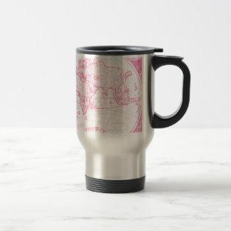Carte antique rose du monde tasse à café