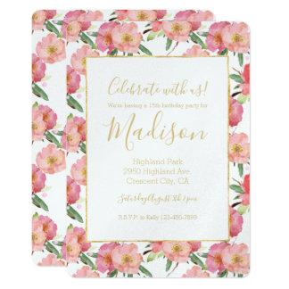 Carte Aquarelle assez rose florale