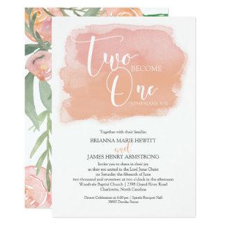 Carte Aquarelle chrétienne de mariage florale et de