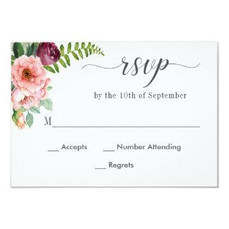 Carte Aquarelle florale d'imaginaire épousant RSVP