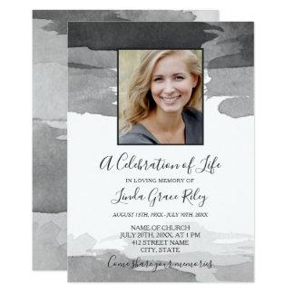 Carte Aquarelle grise - photo - célébration de la vie