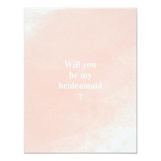 Carte Aquarelle rose simple vous serez ma demoiselle