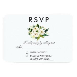 Carte Aquarelle RSVP l'épousant blanc vert floral