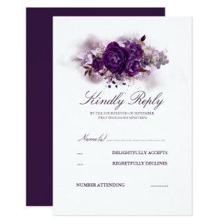 Carte Aquarelles florales pourpres d'aubergine épousant