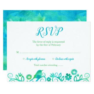 Carte Arbre d'aquarelle de la vie vert turquoise RSVP