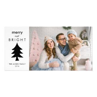 Carte Arbre de Noël noir et blanc moderne avec la photo