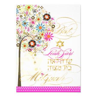 Carte Arbre de PixDezines de la vie+floral, bat mitzvah