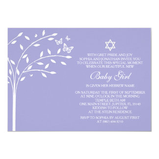 Carte Arbre d'invitation de jour de nomination de bébé