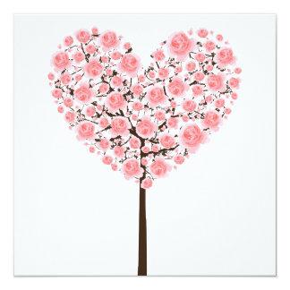 Carte Arbre rose de coeur de Sakura (fleurs de cerisier)