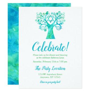 Carte Arbre vert turquoise d'aquarelle de réception de