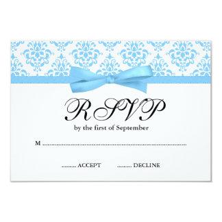 Carte Arc bleu-clair RSVP de ruban de damassé