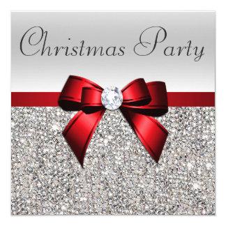 Carte Arc rouge de diamant de fête de Noël argentée de