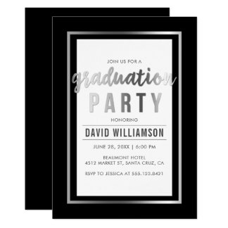 Carte Argent lisse et fête de remise des diplômes noire