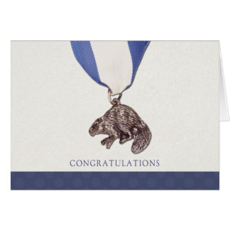 Carte argentée de félicitations de castor