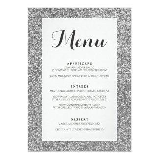 Carte argentée élégante de menu de mariage de