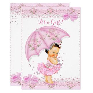 Carte Arrosez le parapluie rose floral de fille de baby