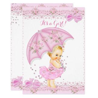 Carte Arrosez le rose floral de fille blonde de baby