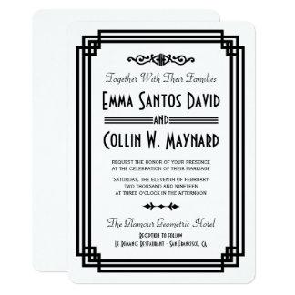 Carte Art déco blanc et noir simple épousant des